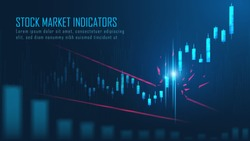 Stock market or forex trading graph break resistance level suitable for technical trading course or financial trend background cover or banner. Vector illustration