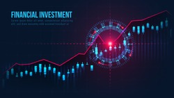 Stock market or forex trading graph with buy target signal suitable for financial investment or Economic trends business idea and all art work design. Abstract finance background. Vector illustration