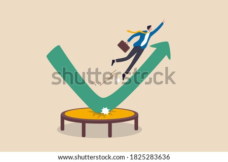 Stock market rebound, overcome business down fall and grow up profit or leadership and achievement concept, businessman jump bouncing high on trampoline with green rising up performance arrow graph.