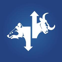stock market symbol. bullish stock market, investment symbol. bear stock market, investment symbol.