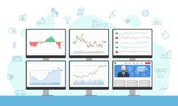 Stock market trader multiple computer monitors with financial charts, diagrams, graphs and news. Business index analysis icons concept. Broker exchange trading workplace vector illustration