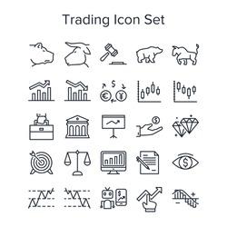Stock market trading icon set