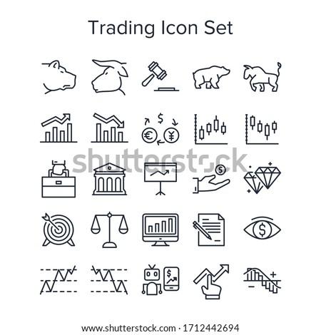 Stock market trading icon set Stock photo ©