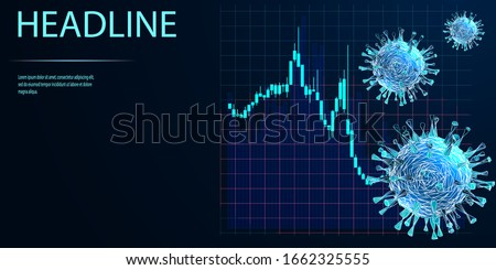 Stock Markets plunge from COVID-19 virus fear. World investment price fall down or collapse from outbreak of Coronavirus. Low poly wireframe style. Vector