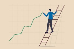 Stock price growth, asset price soaring or rising up, bullish stock market or economic recovery concept, confident businessman trader climbing up ladder to draw green rising up investment line graph.