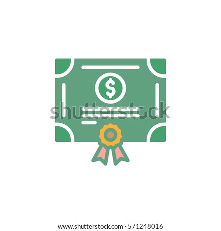 Stock share certificate icon vector, filled flat sign, solid colorful pictogram isolated on white. Bonds, securities symbol, logo illustration Foto d'archivio ©