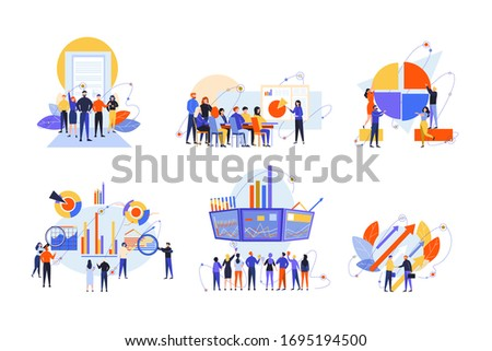 Stock trading, stakeholder, investment, analysis, business set concept. Business people, businessmen women traders stakeholders on stock market. Money investment, stock analysis. Teamwork, training.