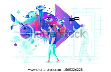 Stock vector abstract Xtreme colorful  illustration VR technology man  gamer cyberpower virtual reality glasses surreal unreal world fluid futuristic geometric special feature for web design business Foto stock ©