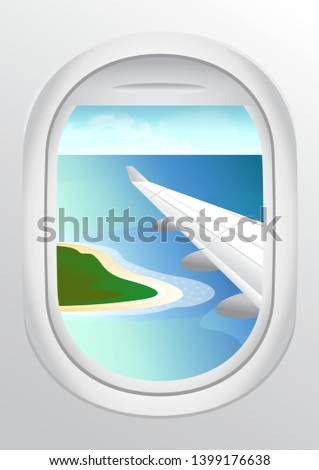 stock vector airplane window. view from airplane with airplane wing. beautiful skies from airplane window. vacation destinations. tropical island.