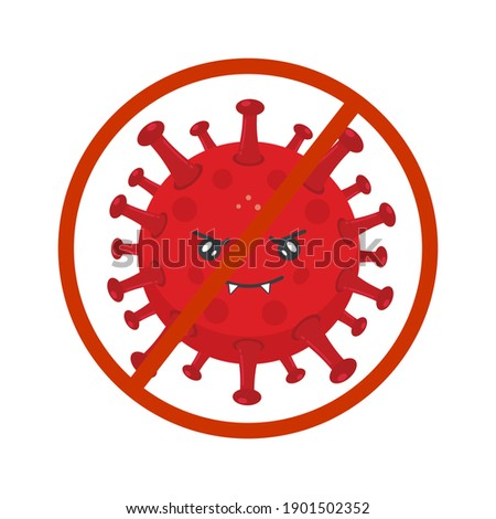 Stock Vector Angry Bacterium Prohibition Sign Stock fotó ©
