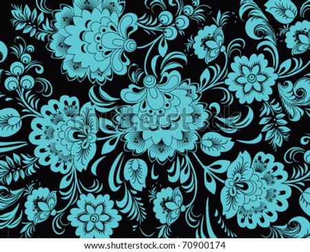 stock vector blue floral