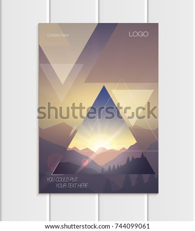 Stock vector brochure A4 or A5 format design business template with abstract triangles and mountain landscape at sunset, dawn backgrounds for printed material, element web site, card, cover, wallpaper
