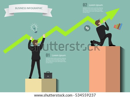 stock vector business man carry on rising graph to grow the company