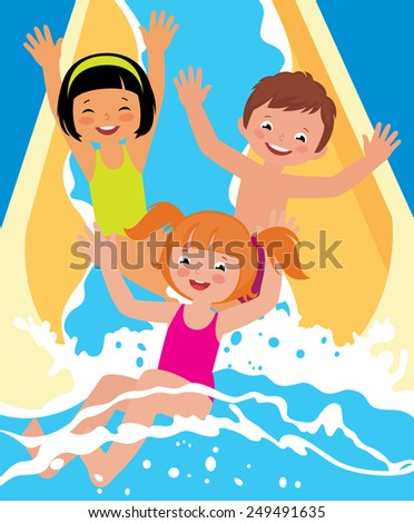 Stock vector cartoon illustration ?hild boys and girl playing in water park in summer/Child boys and girl playing in water park/Stock vector cartoon illustration