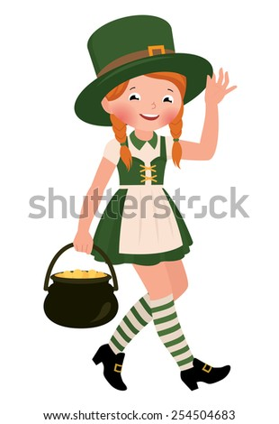 Stock Vector cartoon illustration of a girl dressed as Saint Patrick Day