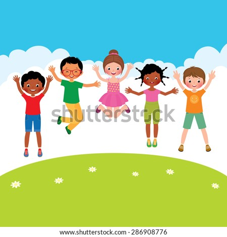 Stock Vector cartoon illustration of a group of happy jumping children of different nationalities/Group of happy jumping children of different nationalities/Stock Vector cartoon illustration