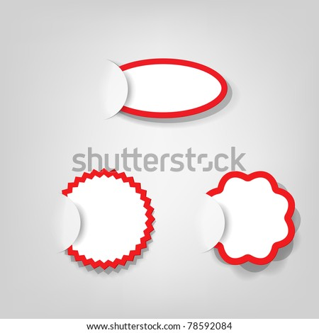 stock vector : collection of empty vector advertisement coupons; realistic cut, takes the background color