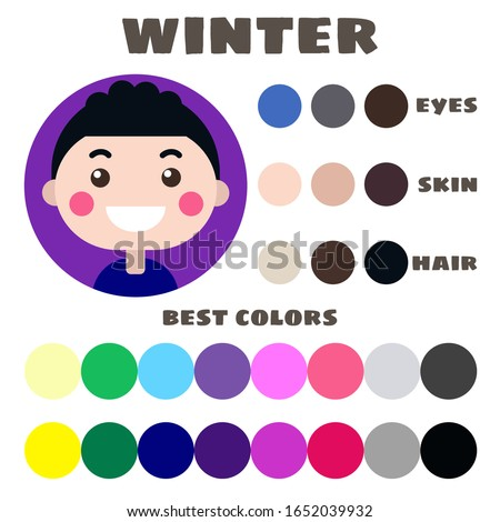 Stock vector color guide. Eyes, skin, hair color. Seasonal color analysis palette with best colors for winter type of children appearance. Face of little boy