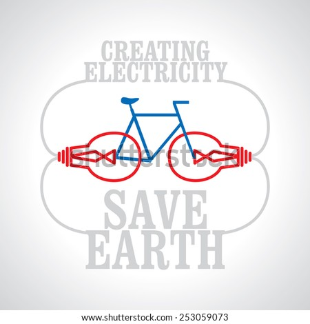 stock-vector-creating-electricity-by-bicycle-save-earth