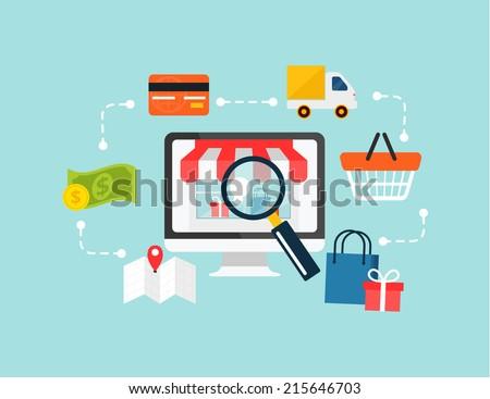 Stock vector ecommerce online shopping illustration flat icon set