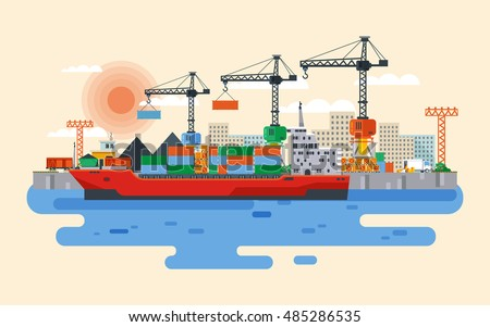 Stock vector flat style illustration loading of cargo ship in river port, carriage of goods by water, delivery sea, large wholesale shipping and transportation, Cranes in industrial area