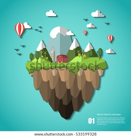 stock vector floating green