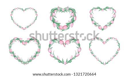stock vector floral spring set