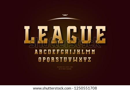 Stock vector golden colored slab serif font, alphabet, typeface. Letters for college sport team logo design