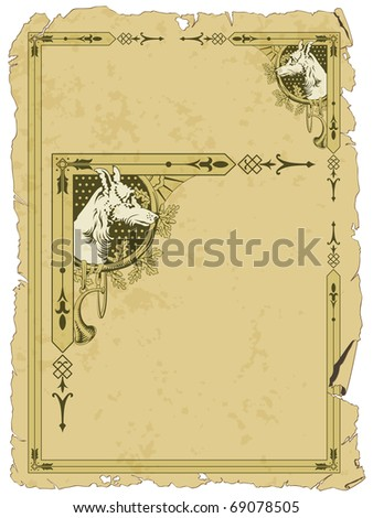 Stock Vector: grunge background with border on hunting