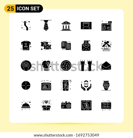 Stock Vector Icon Pack of 25 Line Signs and Symbols for customer; chat; bank; support; audiotape Editable Vector Design Elements