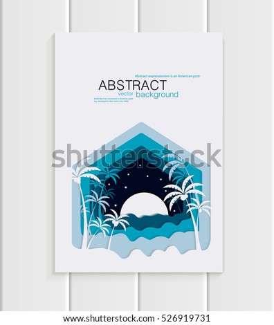 Stock vector illustration abstract nature design element palm trees, desert with full moon unusual landscape, decor dark blue background for printed material, web site, greeting card, cover, wallpaper