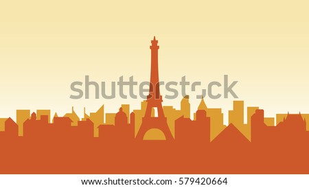 Stock vector illustration background silhouette architecture buildings and monuments town city country travel card, cover, France, monuments, Paris, French culture, landscape,  Eiffel Tower, capital
