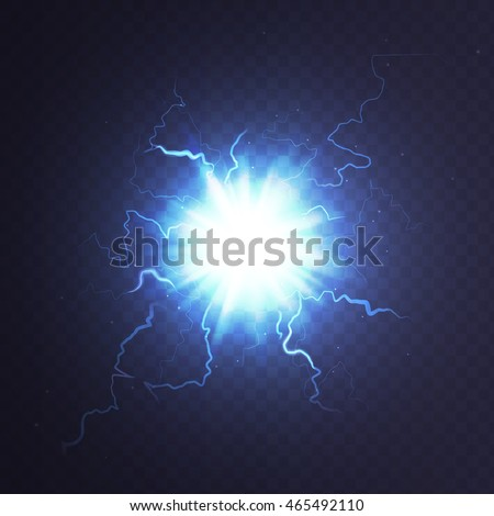 Stock vector illustration ball lightning a transparent background. Abstract plasma sphere. Electric discharge. EPS 10