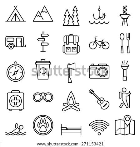 Stock vector illustration big set linear icon camping and tourism/Big set linear icon camping and tourism/Stock vector illustration
