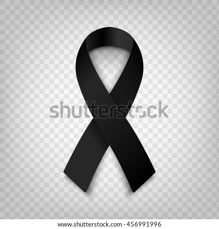 Stock vector illustration black awareness ribbon on transparent background. Mourning and melanoma symbol. Terrorism. Mourning ribbon, death. EPS 10