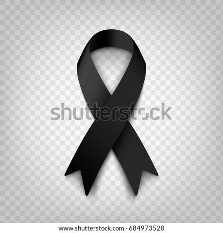 Stock vector illustration black awareness ribbon on transparent background. Mourning and melanoma symbol. Terrorism. Mourning ribbon, death. EPS 10