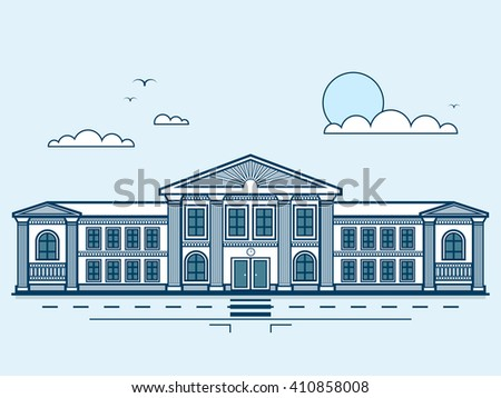 Stock vector illustration city street with institute, university, academy, educational center, classical architecture in line style element for infographic, website, icon, games, motion design, video