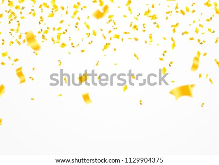 Stock vector illustration defocused gold confetti isolated on a transparent background