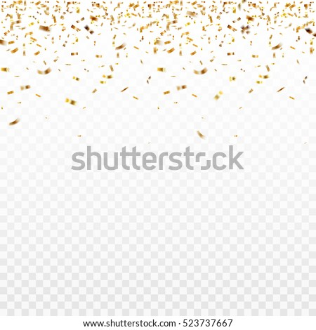 Stock vector illustration defocused gold confetti isolated on a transparent background. EPS 10