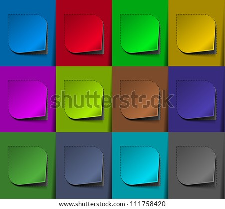 Stock Vector Illustration: Design of advertisement labels stickers. transparent shadow easy replace background and edit colors.