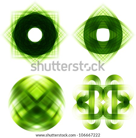 Stock Vector Illustration:   Different abstract logos and elements for design(icon). Green set - stock vector