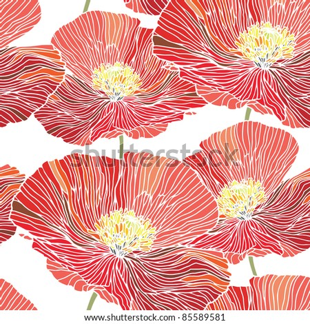 Stock Vector Illustration: Elegance Seamless pattern with flowers, vector floral illustration in vintage style