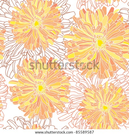 Stock Vector Illustration: Elegance Seamless pattern with flowers, vector floral illustration in vintage style - stock vector