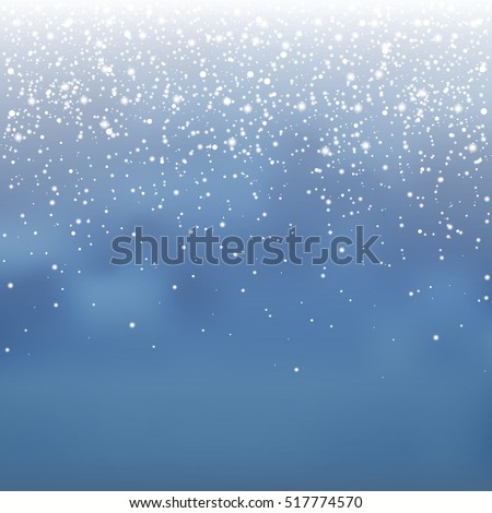 Stock vector illustration falling snow, many small snowflakes on a blue background. Snowfall, snowflakes, blizzard, snowstorm. EPS 10