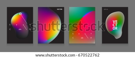 Stock vector illustration Fluid shapes poster covers set with modern hipster and memphis background colors. Templates for placards, banners, flyers, presentations and reports. Minimal design. EPS 10