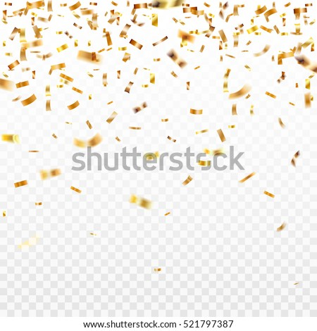 Shutterstock Stock vector illustration gold confetti isolated on a transparent background. EPS 10