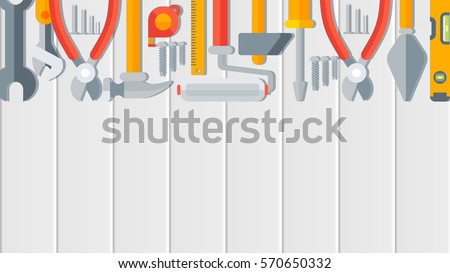 Stock vector illustration horizontal background for banner, printed materials, Labor Day cards, corporate identity, website design element, header, building tools repair, construction in flat style