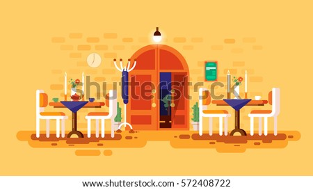 Stock vector illustration interior entrance door cafe, restaurant lounge dining table lunch room snack bar romantic cafeteria, canteen flat style design, infographic, printed material, video animation