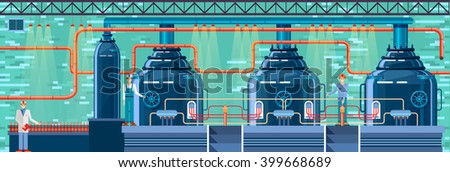 Stock vector illustration interior of brewery, modern architectures, factory building in flat style element for infographic, website, icon, games, motion design, video