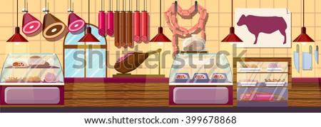 Stock vector illustration interior of Butcher shop, modern architectures, showcase meat products in flat style element for infographic, website, icon, games, motion design, video Stockfoto ©